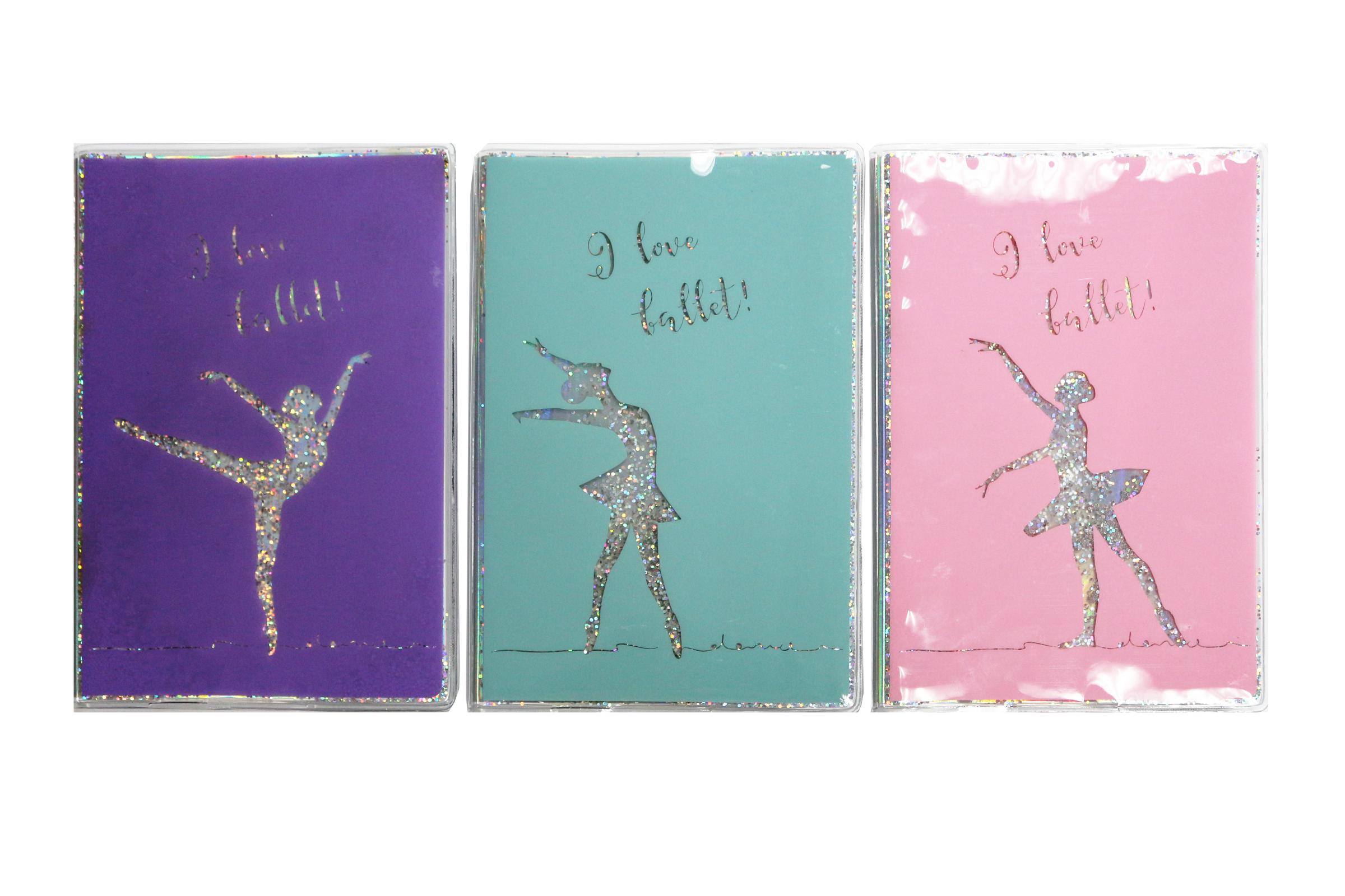 Flowing Glitter Ballet Dance Notebook