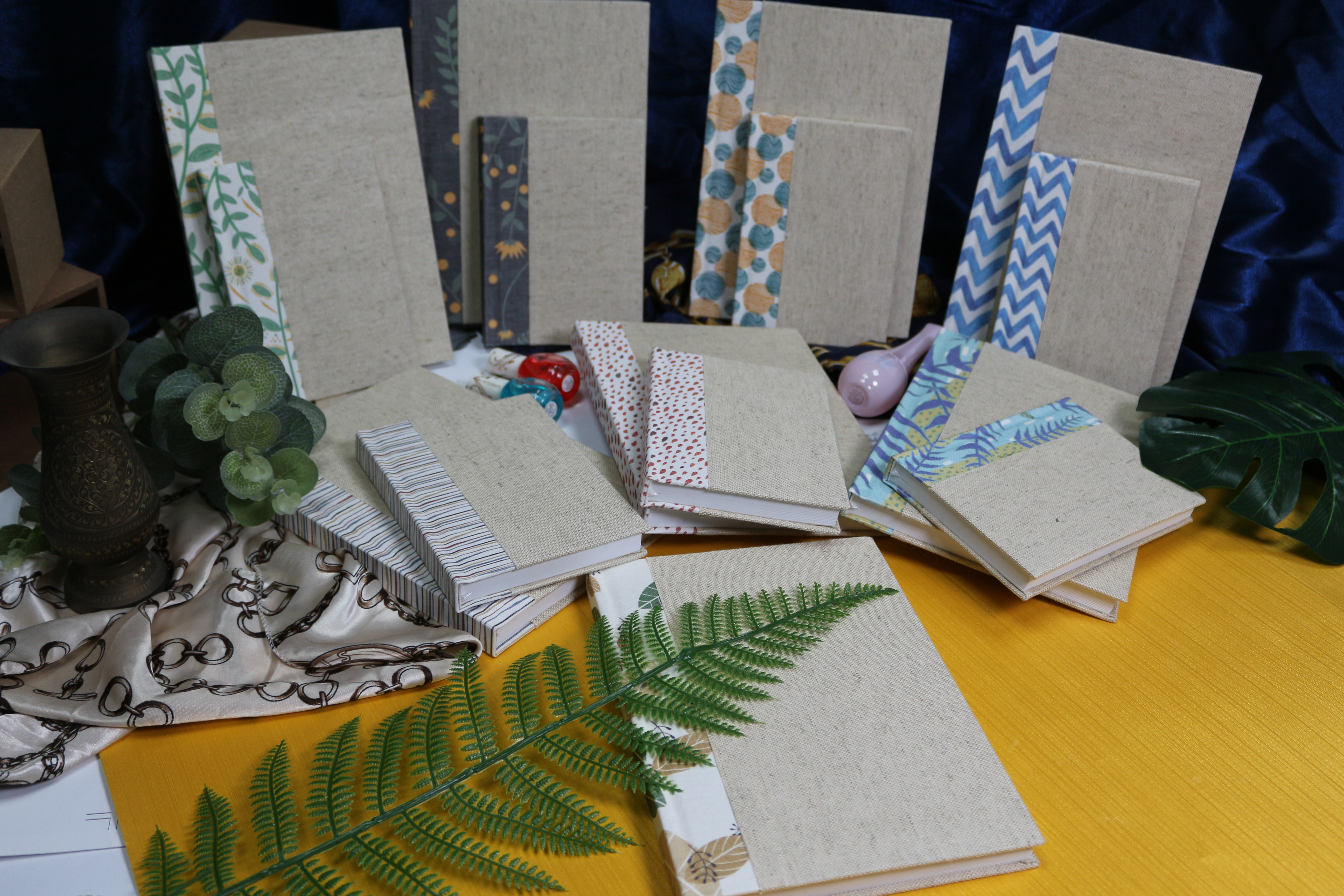 Geometri naturlig stil Linne hårt täckt bunden journal anteckningsbok