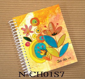 Cha-Cha Spiral Notebook-flowers1 - Cha-Cha Funny Style Small Notebook