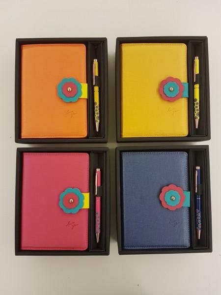 Blumen-Stil PU-Leder-Tagebuch-Geschenkset - Geschenkset mit Blumenzeichen-Briefpapier