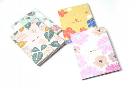 Garden flowers design velvet finish journal notebook