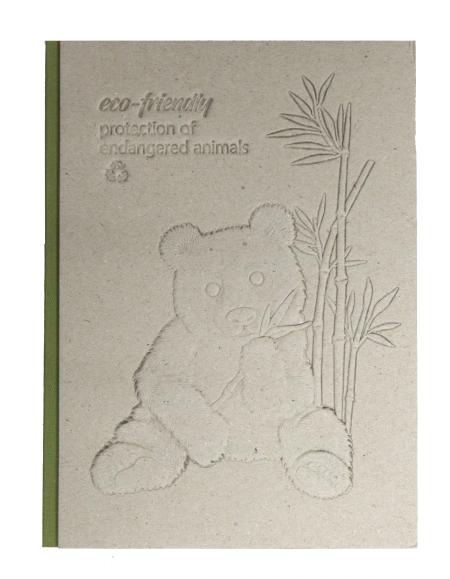 Notizbuch mit recycelter Graupappe mit Reliefprägung