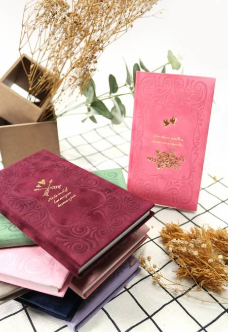 Heißfolien-Tagebuch aus Samtpapier mit großer Größe