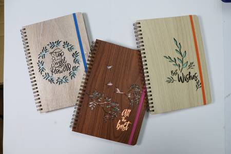 Wood Grain PU Laser Journal