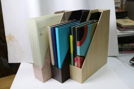 Boîte de rangement en cuir PU à grain de bois
