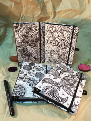 Svarta linjer Zentangle Art Style Organizer