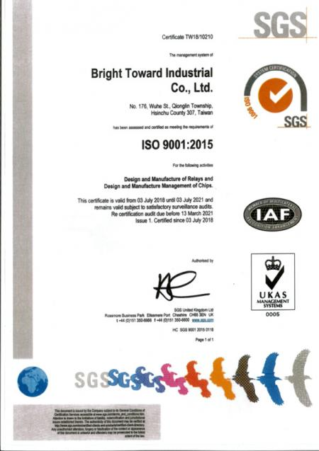 ISO9001 certifies both manufacturing plants of TOWARD.