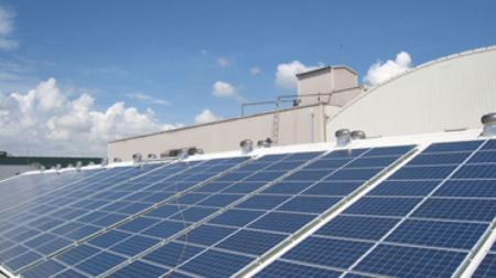 Roof mounted solar panel system.