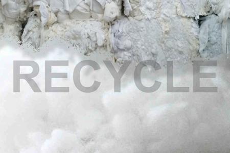 保暖可回收複合材 - 回收紡織品之廢料,將其重新織造所產生的環保織物。