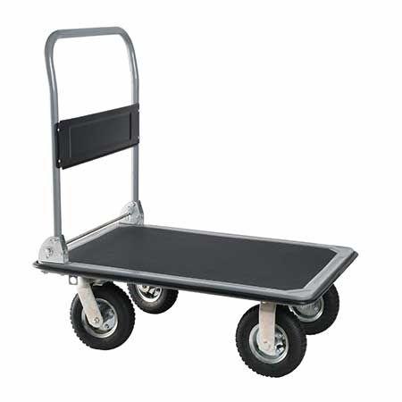 Heavy duty industrial platform cart with pneumatic wheel absorb shock.