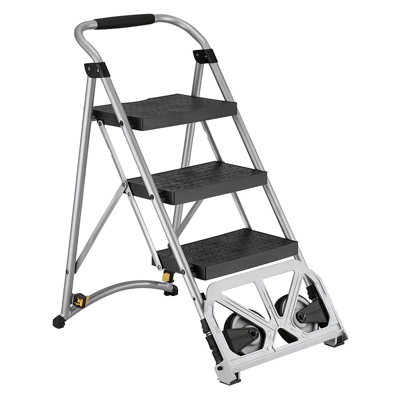 Step ladder is featuring multi-purpose, compact and easy storage.