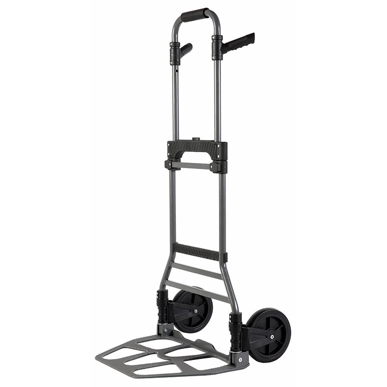 "Folding steel portable hand cart with oversize 7"" wheels."