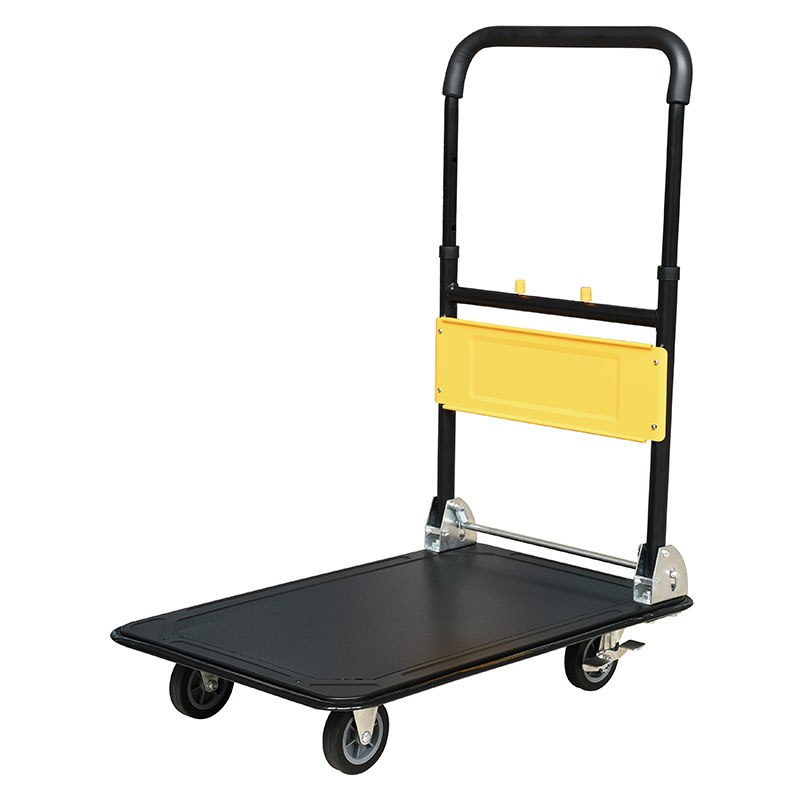 Folding platform truck with collapsible handle