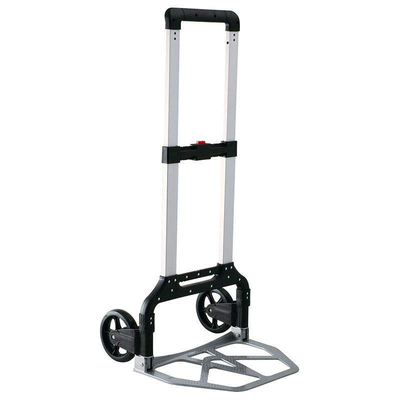 Aluminum folding hand truck is equipped with 6 inch castors.