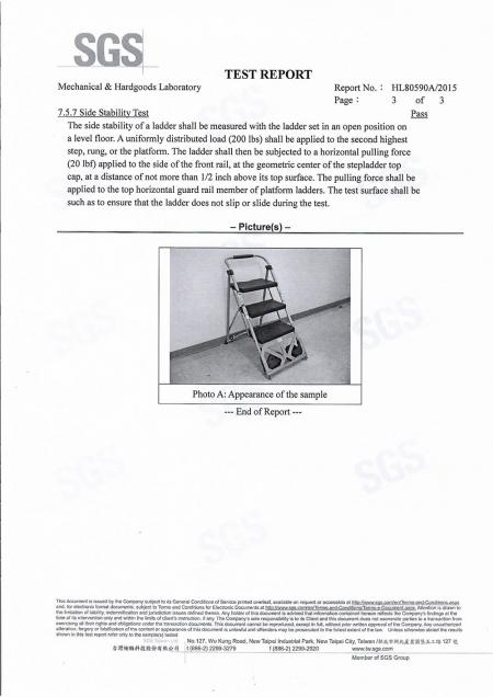 2015 2 in 1 Step Ladder Cart SGS Test Report