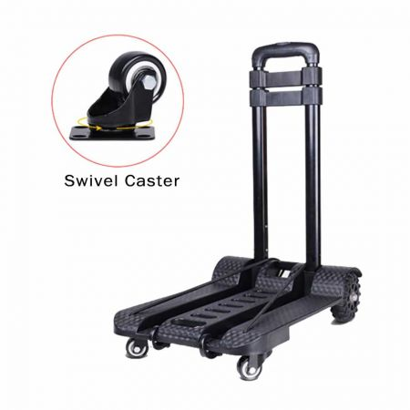 3 Stage Luggage Cart with swivel caster (Loading 50 kg) - The small compact trolley is easy to carry while travelling.