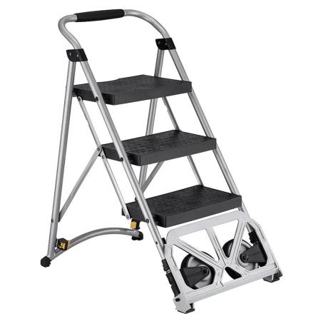 3-Steps Ladder Cart 2-IN-1 Convertible Multi-Function Step Stool(Loading 135 kg) - Folding step ladder is certification compliant