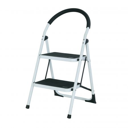 2-Steps Steel Stool Household Round Hand Grip Ladder(Loading 150 kg) - The ladder with PP plastic anti-slip pedal is safer.