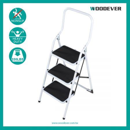 3-Steps Portable Steel Non Slip Step Stool (Loading 150 kg) - The PE plastic is plastic of the single side folding ladder foot plug