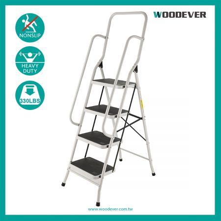 4-Steps Multi-Use High Handrail Folding Step Ladder(Loading 150 kg) - The ladder with a high handrail uses Q195 steel.