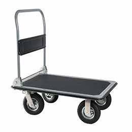 Industriële stalen platformduwwagen met pneumatisch groot wiel