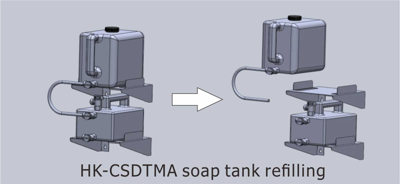 Refilling top soap tank without interrupting the soap dispensing services