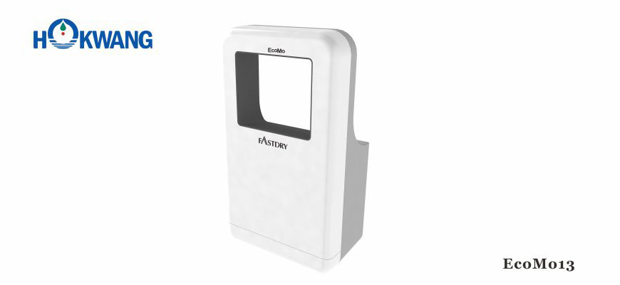 EcoMo13 1600W White and Grey Wheelchair Friendly Square-Shaped Jet Hand Dryer