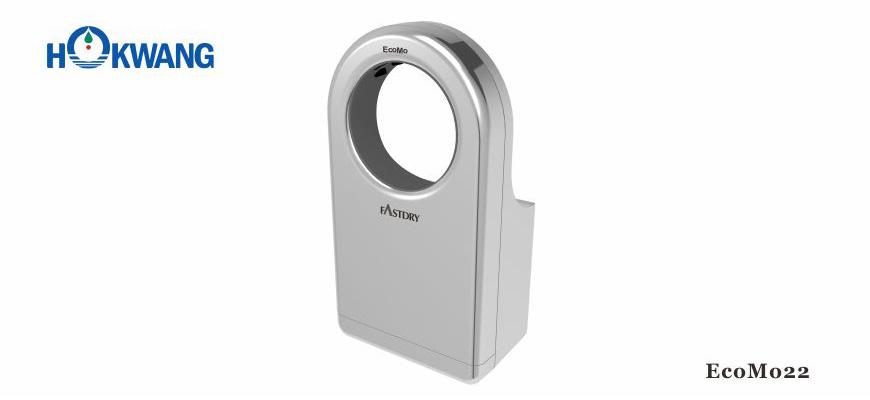EcoMo22 1600W Silver Wheelchair Friendly Round-Shaped Jet Hand Dryer