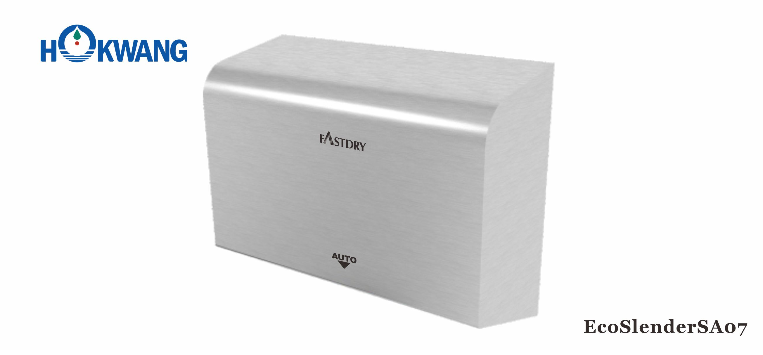 ADA high speed slim hand dryer in brushed stainless steel 304 rectangle cover with quarter circle design on the top  - model number EcoSlenderSA07