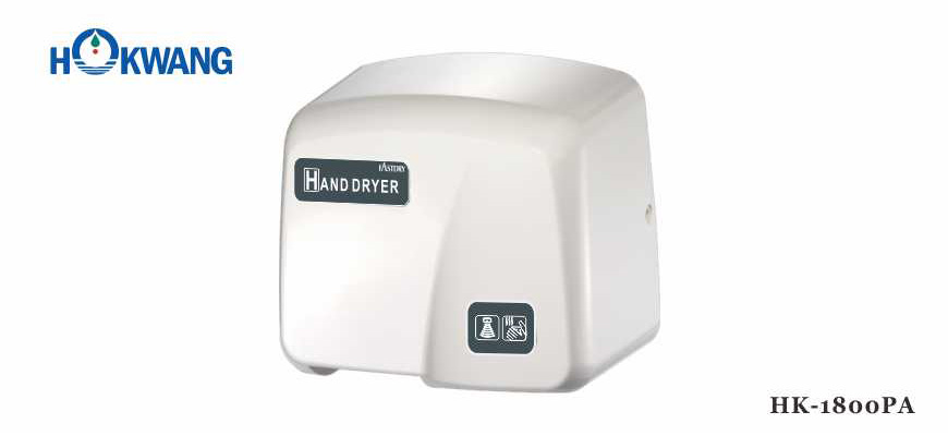 1800PA White ABS Plastic 1800W Auto Hand Dryer
