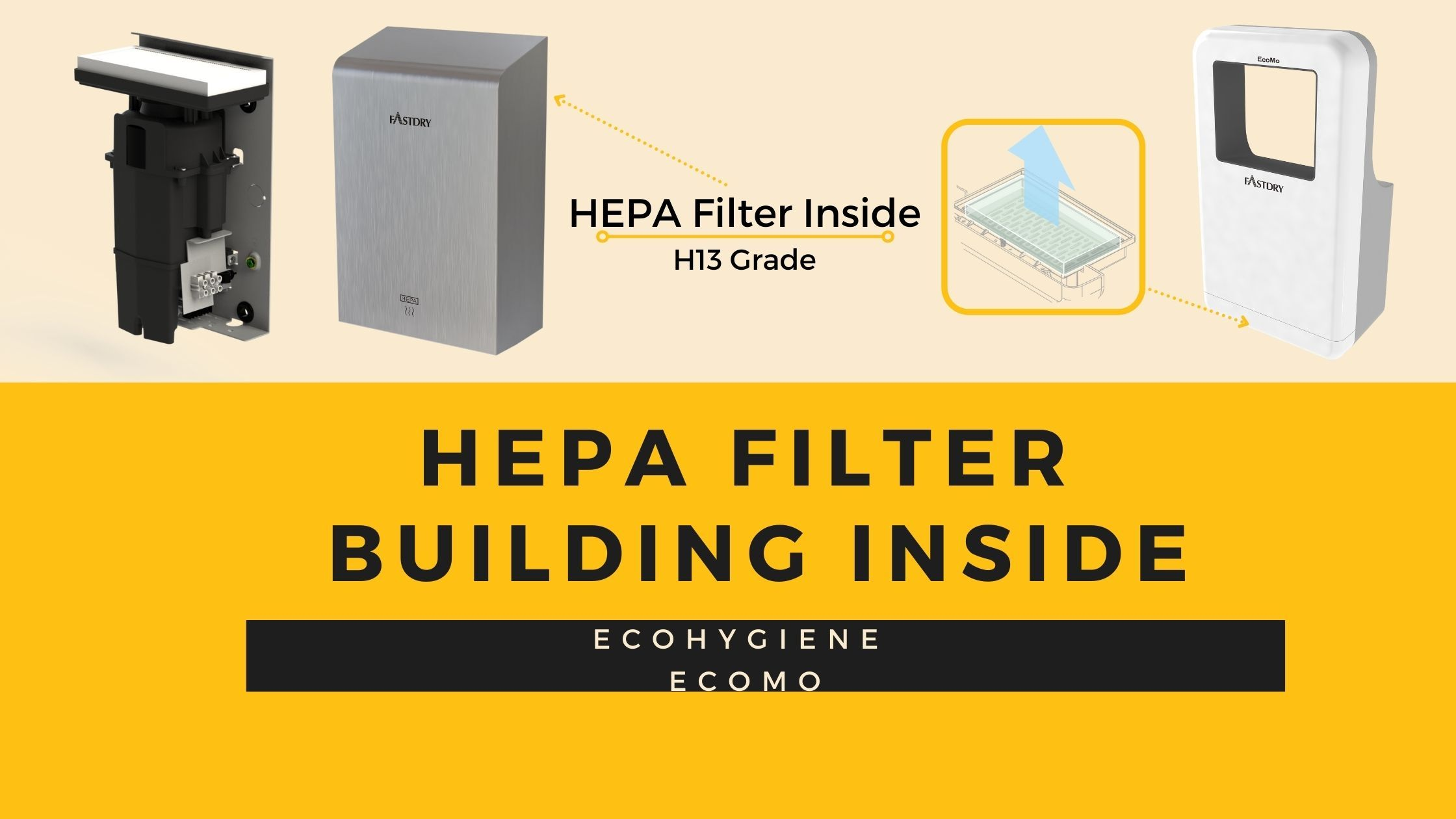 Hokwang Szybka suszarka do rąk z wbudowanym filtrem HEPA