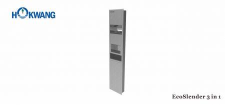3'ü 1 Arada Yüksek Hızlı El Kurutma Makinesi+ Kağıt Dağıtıcı + Çöp Kutusu - EcoSlender 1000W Kombinasyon Saten Paslanmaz Çelik El Kurutma Makinesi