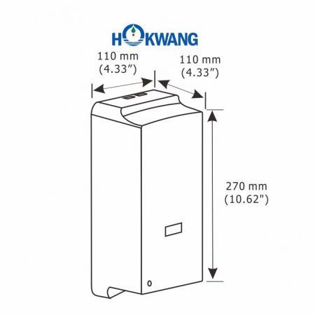 Dimensions du distributeur de savon liquide automatique compact en plastique HK-800DA