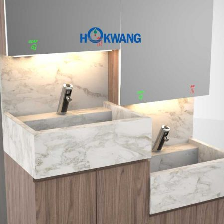 AF32 Series Auto Faucet and Mirror Cabinet