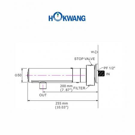 Dimensões da torneira automática AF330