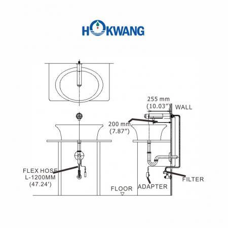 Dimensões da torneira automática AF336