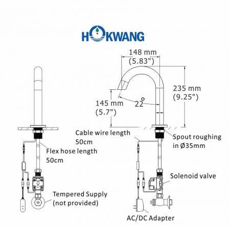 AF370 Auto Faucet Dimensions