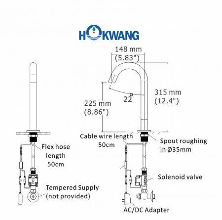 Dimensioni del rubinetto automatico AF370