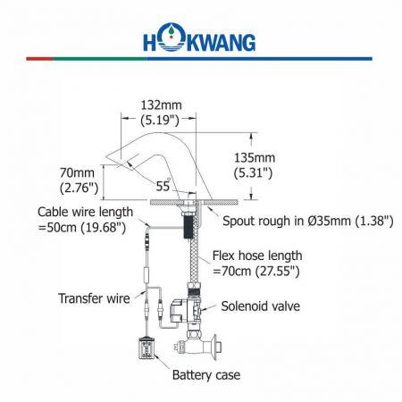 AF378DC Auto Faucet Dimensions
