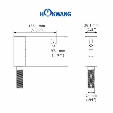 Dimensioni dell'erogatore automatico di sapone liquido / schiuma montato su piattaforma in acciaio inossidabile HK-CSD3