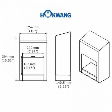 Dimensões do secador de mãos EcoFast (SM)