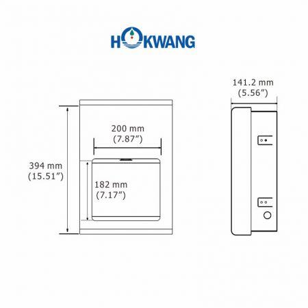 Dimensões do secador de mãos EcoFast (SR)