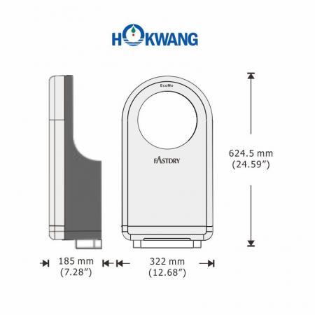EcoMo Hand Dryer Dimensions