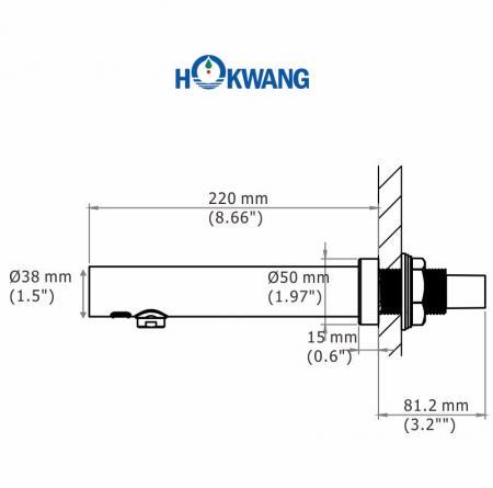 EcoTap-W FA01自動蛇口の寸法
