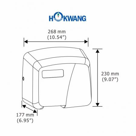 HK-1800PA Hand Dryer Dimensions