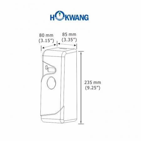 HK-230AD Auto Aerosol Dispenser Dimensions