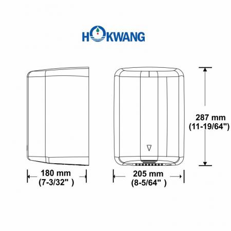 HK-JA Hand Dryer Dimensions