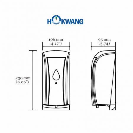 HK-SSD ABS Auto Multi-Function Soap Dispenser (500ML) Dimensions