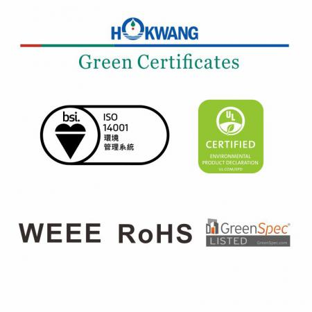 Hokwang Hand Dryer Green Certificate