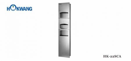 3 In 1 Warm Air Hand Dryer+ Paper Dispenser + Waste Bin - 2200W Hand Dryer combined with Paper Dispenser and Waste Bin, Satin Stainless Steel Cabinet